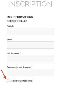 Inscription Pro - Mes info perso